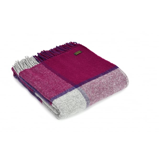Tweedmill Pure New Wool Block Check Throw - Fuchsia