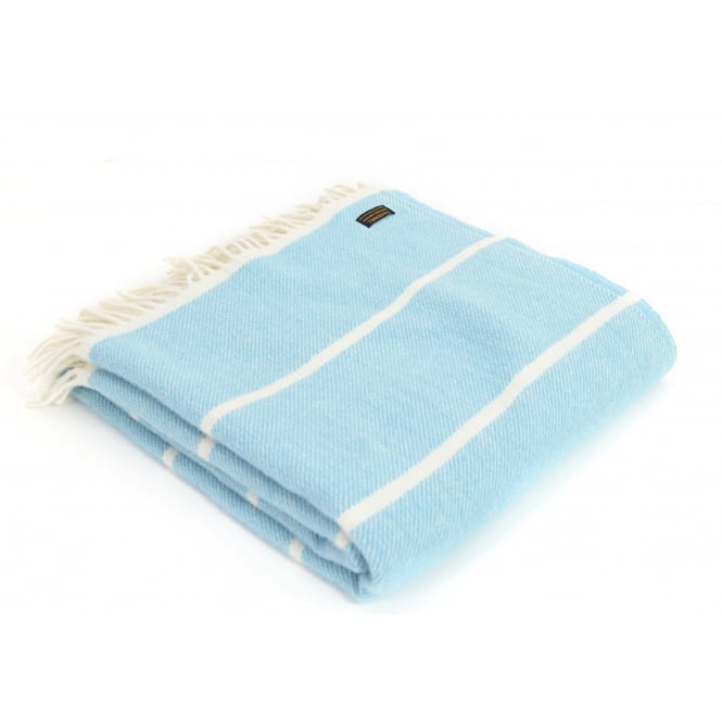 Tweedmill Pure New Wool Broad Stripe Throw - Blue