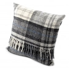 Pure New Wool Check Cushion - Cottage Grey 40cm x 40cm