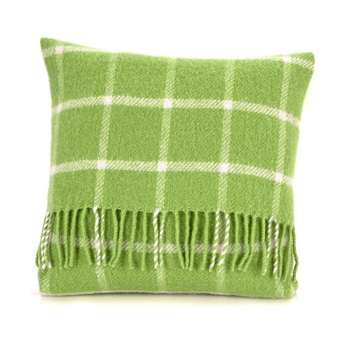 Tweedmill Pure New Wool Chequered Check Cushion - Avocado Green 40cm x 40cm
