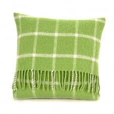Pure New Wool Chequered Check Cushion - Avocado Green 40cm x 40cm