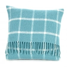 Pure New Wool Chequered Check Cushion - Spearmint 40cm x 40cm
