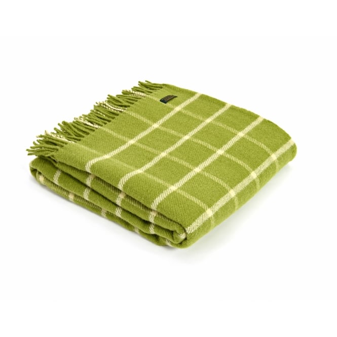 Tweedmill Pure New Wool Chequered Check Throw - Avocado