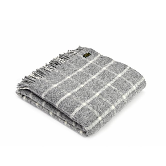 Tweedmill Pure New Wool Chequered Check Throw - Grey