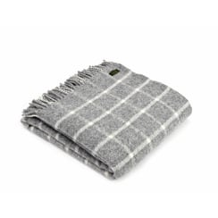 Pure New Wool Chequered Check Throw - Grey