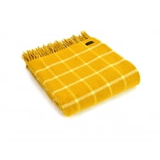 Pure New Wool Chequered Check Throw - Yellow