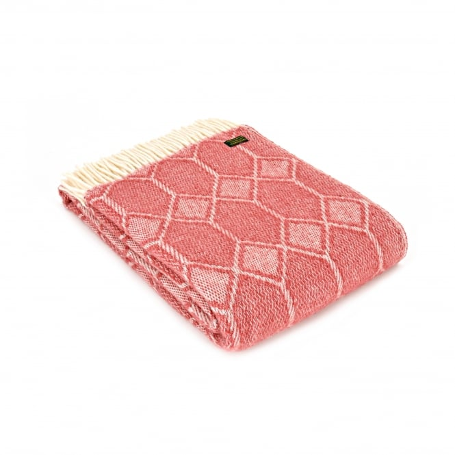 Tweedmill Pure New Wool Churchpane Throw - Cranberry