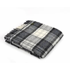 Pure New Wool Cottage Grey Check Throw