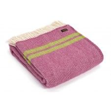6df2f88b64 Pure New Wool Fishbone 2 Stripe Throw - Mulberry Apple