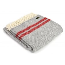 Pure New Wool Fishbone 2 Stripe Throw - Silver Grey/Red