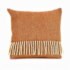 Pure New Wool Fishbone Cushion - English Mustard 40cm x 40cm