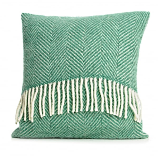 Tweedmill Pure New Wool Fishbone Cushion - Sea Green 40cm x 40cm