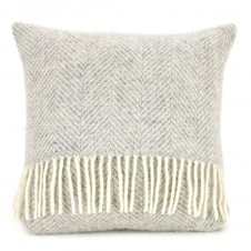 Pure New Wool Fishbone Cushion - Silver Grey 40cm x 40cm