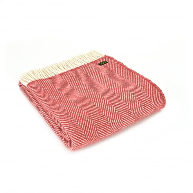 Tweedmill Pure New Wool Fishbone Throw - Cranberry