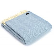 Pure New Wool Fishbone Throw - Duck Egg