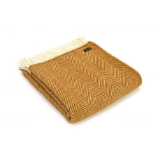 Pure New Wool Fishbone Throw - English Mustard