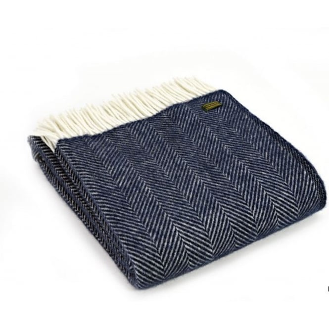 Tweedmill Pure New Wool Fishbone Throw - Navy