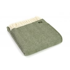 Pure New Wool Fishbone Throw - Olive
