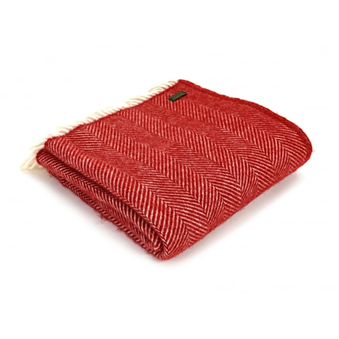 Tweedmill Pure New Wool Fishbone Throw - Red