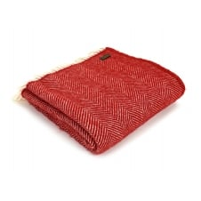 Pure New Wool Fishbone Throw - Red