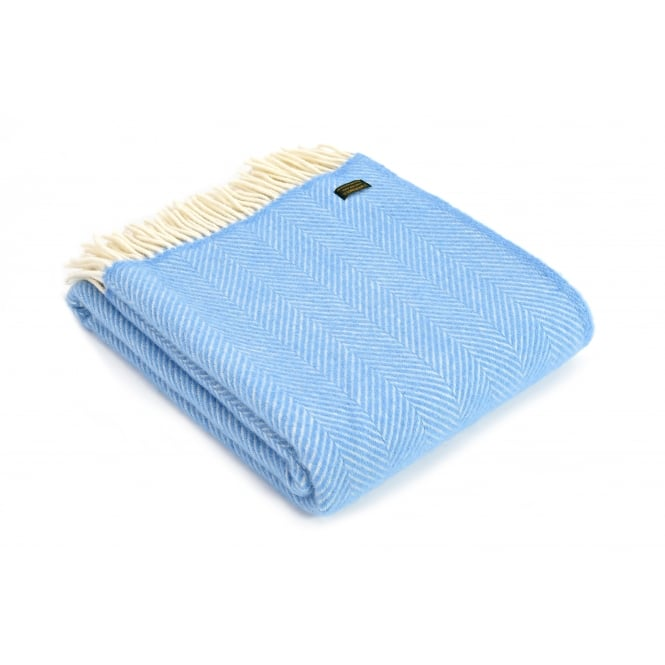 Tweedmill Pure New Wool Fishbone Throw - Sea Blue