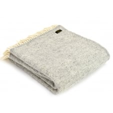 Pure New Wool Fishbone Throw - Silver Grey