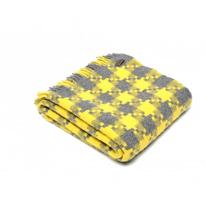 Tweedmill Pure New Wool Geometric Jigsaw Throw - Charcoal/Yellow