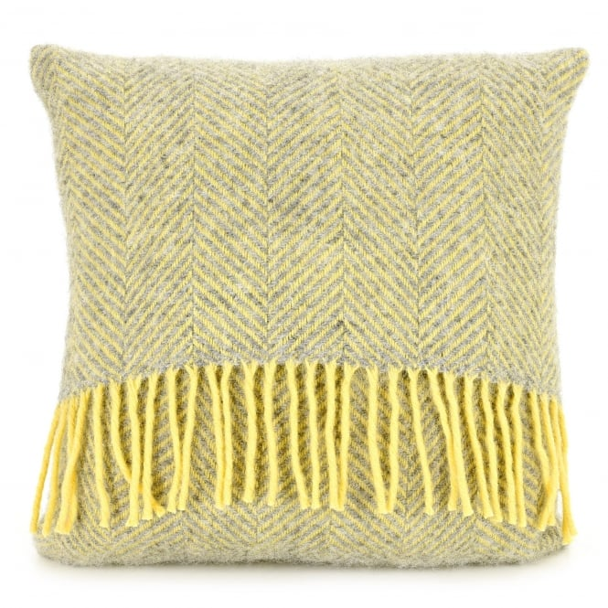 Tweedmill Pure New Wool Herringbone Cushion - Silver Grey/Lemon 40cm x 40cm