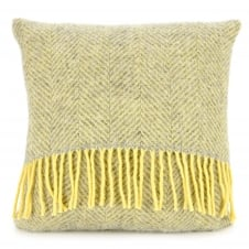 Pure New Wool Herringbone Cushion - Silver Grey/Lemon 40cm x 40cm