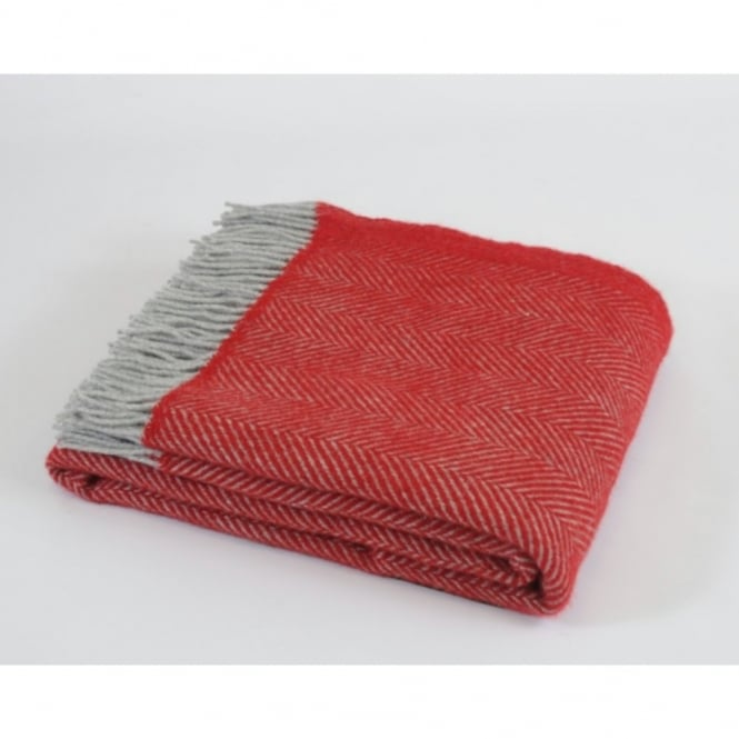 Tweedmill Pure New Wool Herringbone Throw - Red/Charcoal