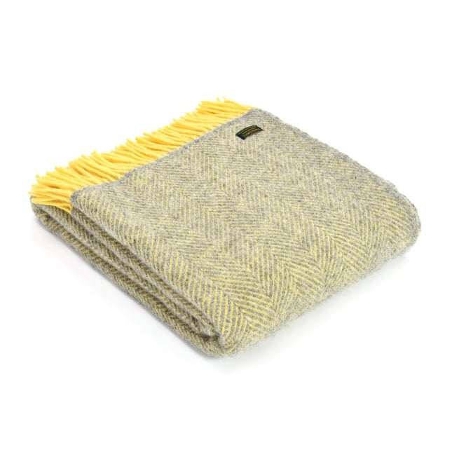 Tweedmill Pure New Wool Herringbone Throw - Silver Grey/Lemon
