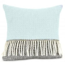 Pure New Wool Illusion Panel Cushion - Duck Egg/Grey 40cm x 40cm