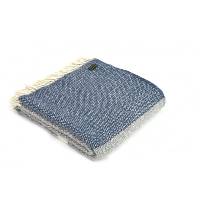 Tweedmill Pure New Wool Illusion Panel Throw - Blue Slate/Grey