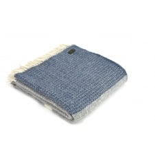Pure New Wool Illusion Panel Throw - Blue Slate/Grey