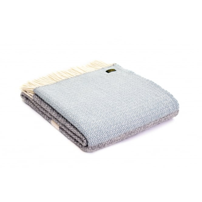 Tweedmill Pure New Wool Illusion Panel Throw - Duck Egg/Grey