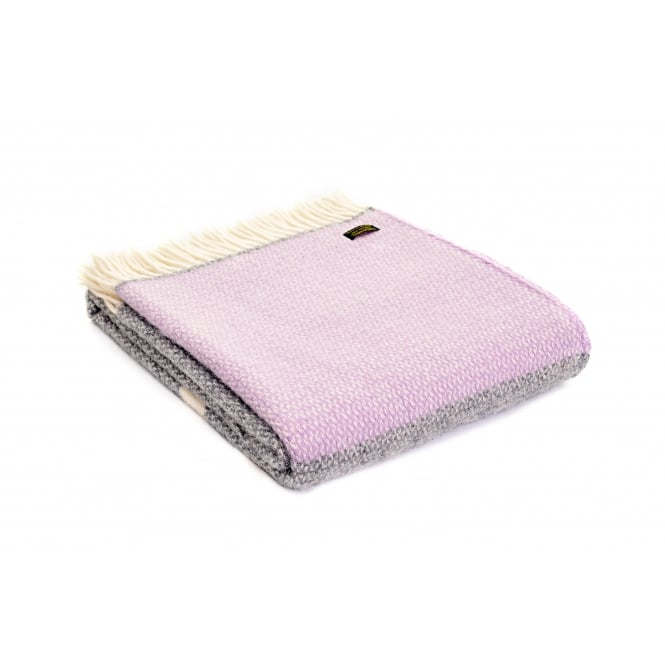 Tweedmill Pure New Wool Illusion Panel Throw - Lilac/Grey