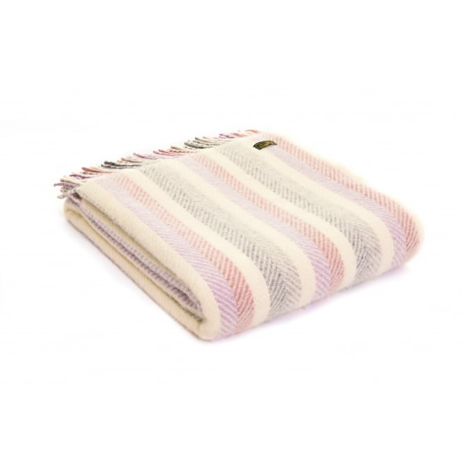Tweedmill Pure New Wool Rainbow Lilac Stripe Throw