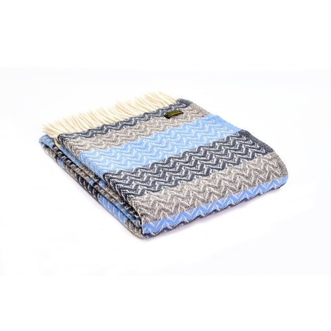 Tweedmill Pure New Wool Ripple Throw - Blue Slate