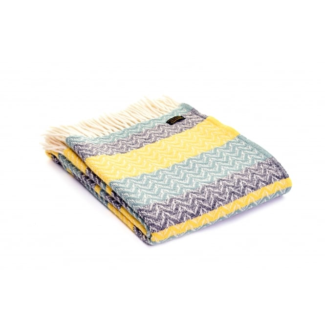 Tweedmill Pure New Wool Ripple Throw - Sea Green/Yellow