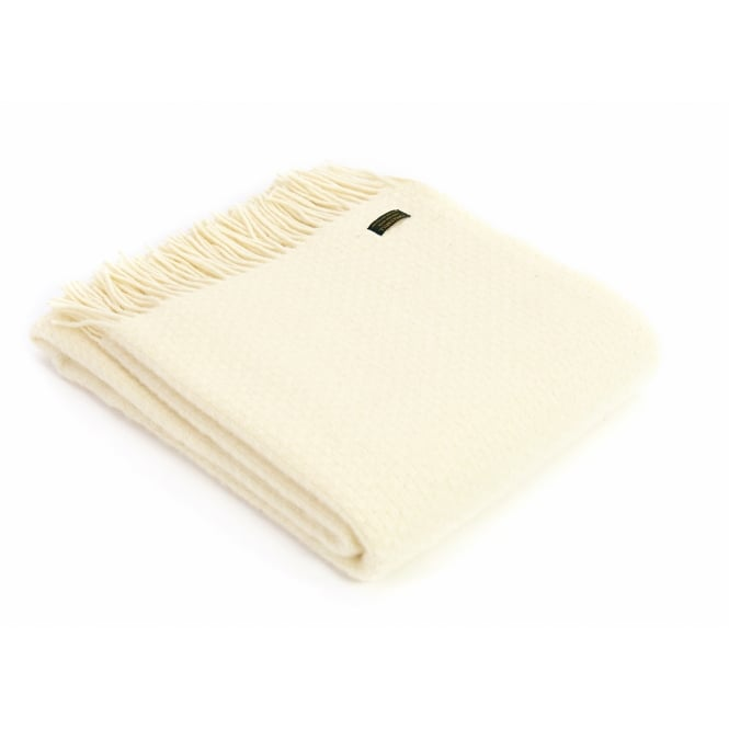 Tweedmill Pure New Wool Wafer Throw - Cream