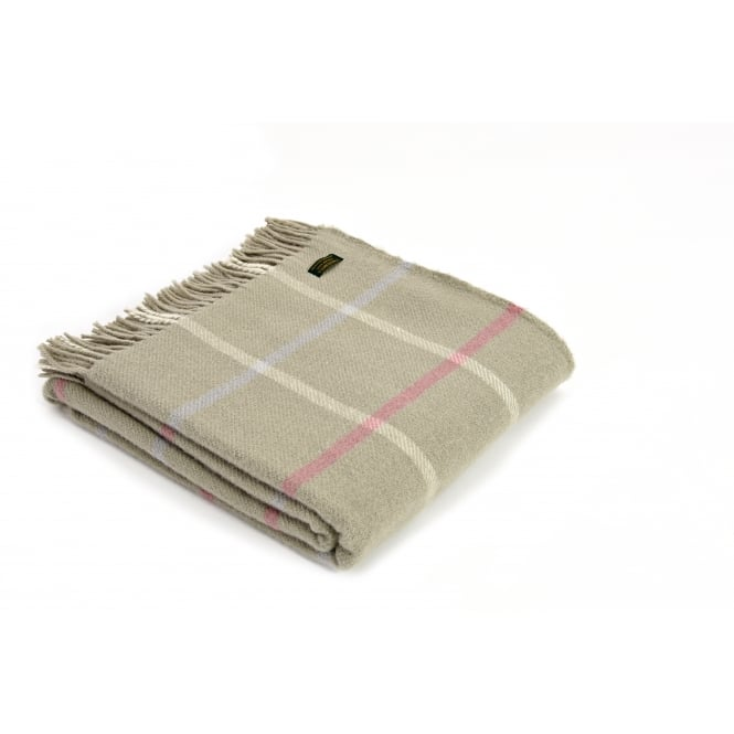 Tweedmill Pure New Wool Windowpane Check Throw - Putty