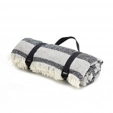 Recycled Wool Picnic Rug with Waterproof Backing - Crosshatch Navy/Silver Stripe