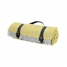Recycled Wool Picnic Rug with Waterproof Backing - Crosshatch Pear Green
