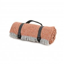 Recycled Wool Picnic Rug with Waterproof Backing - Crosshatch Rustic Orange