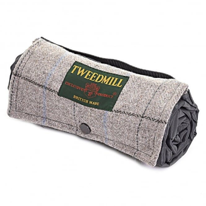 Tweedmill Walker Companion Tweed Picnic Rug with Waterproof Backing - Silver Grey Overcheck