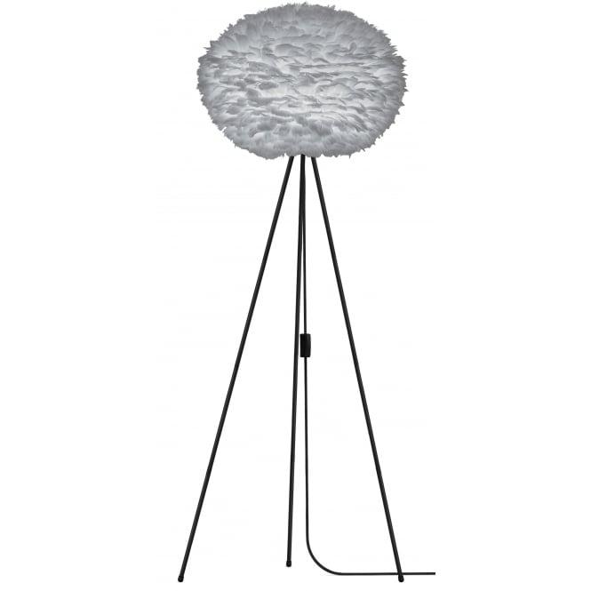Grey Mingle Metal Tripod Floor Lamp: Umage Light Grey Feather Eos Large/Black Tripod Floor Lamp