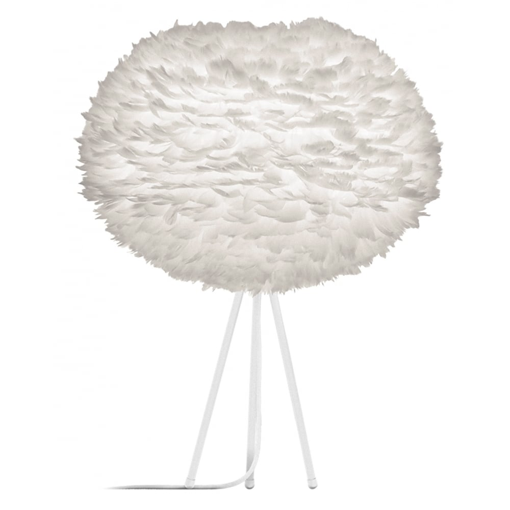 Umage White Feather Eos Large White Tripod Table Lamp Black By Design