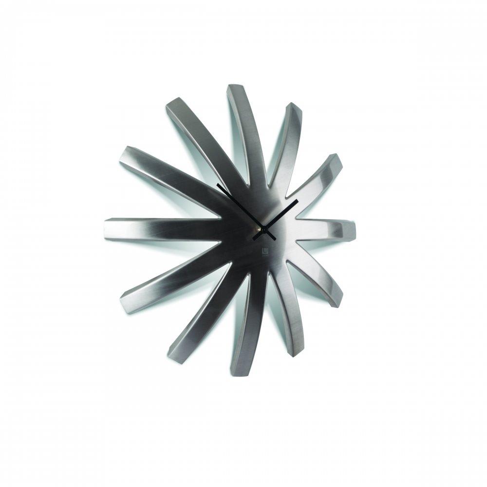 umbra burst wall clock  stainless steel  black by design - umbra burst stainless steel wall clock