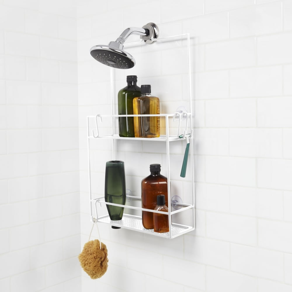 Umbra Cubiko Metal Shower Caddy | White | Black by Design