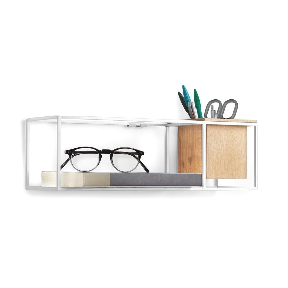 umbra cubist floating display shelf small white black by design. Black Bedroom Furniture Sets. Home Design Ideas